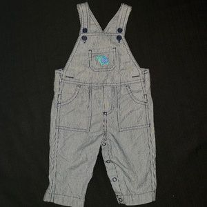 3-6m Baby Carters Overalls Pinstripe Navy & Whitw